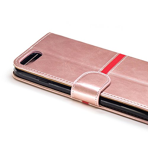 iPhone Case Cover IPhone 7 Plus Fall-Abdeckung, erstklassiger PU-lederner horizontaler Schlag-Standplatz-Fall mit Halter u. Wallet u. Karten-Schlitz u. Foto-Rahmen für Apple IPhone 7 plus 5.5 ( Color  Rose Gold