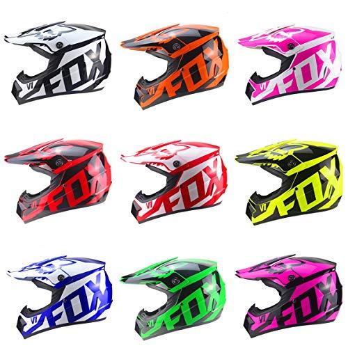 LLLD Casco Motocross Crash con Occhiali Maschera Guanti, Moto DH off-Road Enduro ATV BMX Downhill Dirt Bikes Quad Moto Casco Cross Country per Giovani Junior,mattgreen,L:57~58cm