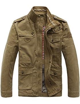 JIINN Hombre Primavera Otoño Invierno casual algodón clásico multi-bolsillo Metal Zipper Cargo Estilo militar...