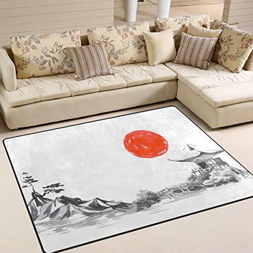 Use7 Japanischer Teppich, traditionell, Mountain Sun, Ölgemälde, für Wohnzimmer, Schlafzimmer, Textil, Multi, 203cm x 147.3cm(7 x 5 feet) (Traditionelle Teppiche 5x7)