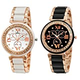 Analogue White Dial & Black Dial Womens Watches (Ss-703W-703B)(Set of 2)