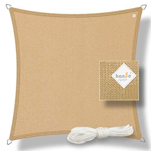 hanSe® Marken Sonnensegel Sonnenschutz Segel Quadrat 2x2 m Sand