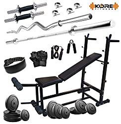 Kore 100kg Combo 26-WB Home Gym with 6-in-1 Multipurpose Bench