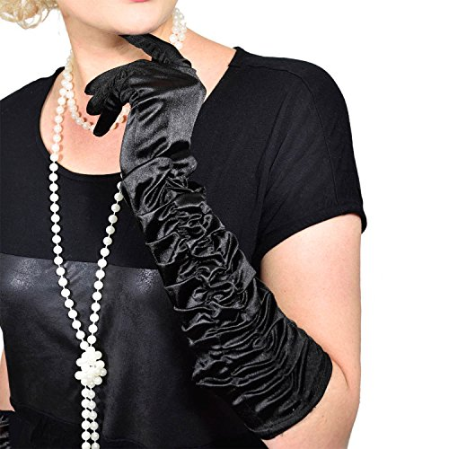 Charleston 20er Jahre Handschuhe lange Retro Handschuhe für Burlesque Kostüm Kleid Outfit (Zwanziger Goldenen Jahre Kostüme)
