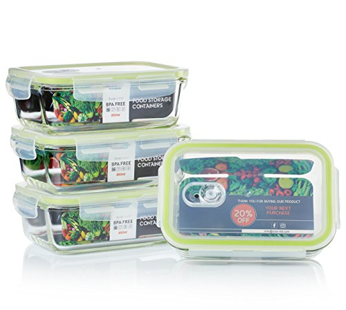 Zoë&Mii Lebensmittelbehälter aus Glas 8 teilige Set 850 ml - Hochwertige und luftdichte Glasschalen BPA-frei - Frischhaltedosen Vorratsdosen mit Smart Lock Deckel - Glasbox mit Deckel