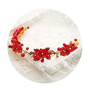 AmDxD Vergoldet Haarschmuck Hochzeit Zirkonia Rot Blume Perlen Haarbänder Damen Gold