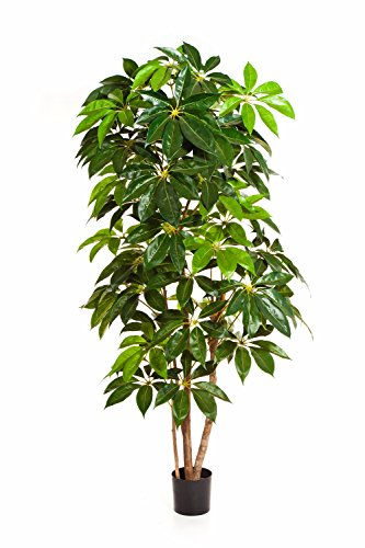 artplants – Kunst Pachira Flavio, 317 Blätter, grün, 190 cm – Künstliche Glückskastanie/Deko Baum