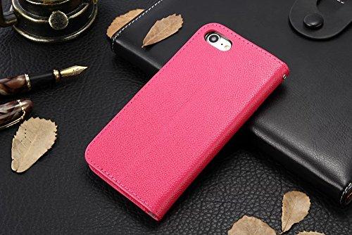 Für Apple IPhone 7 Fall-Abdeckung Horizontaler Schlag-Standplatz Weiche echtes Leder Matte Litchi Beschaffenheits-Kasten mit Halter u. Karte Bargeld-Schlitze u. Foto-Rahmen ( Color : Pink ) Red