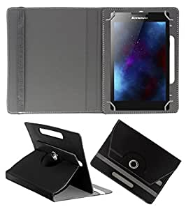 ECellStreet ROTATING 360° PU LEATHER FLIP CASE COVER FOR MACGREEN PAD-7232W 7 INCH TABLET STAND COVER HOLDER - Black