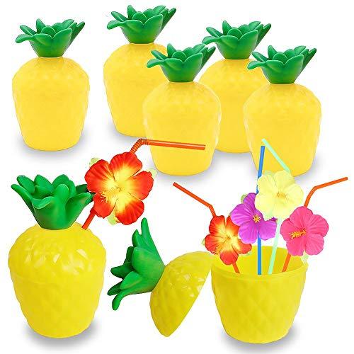 XHONG Kokosnuss-Becher, Kunststoff, Ananas-Becher, 6 Stück, Hawaiianische Luau-Kokosnuss-Tassen mit Strohhalmen und Blume für Luau, Tiki und Strand Themenpartys