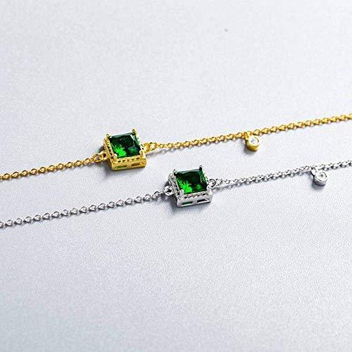 Ibuprofen Armreifen Armbänder Smaragd Zirkon Quadrat Armband Einfache Gericht Sterling Silber Student