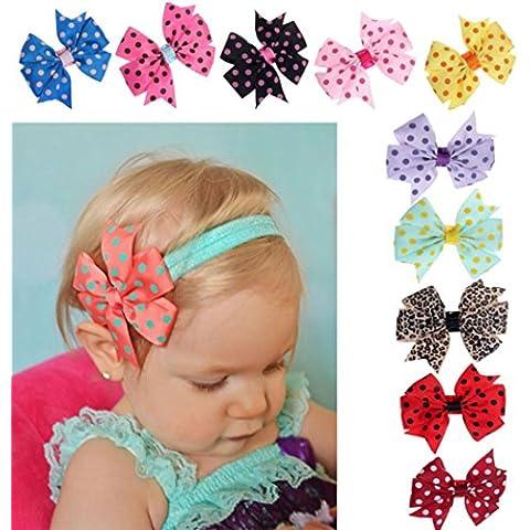 Reasoncool Babys 10pc Fascia Hairband Punto Onda Elastica Di Bowknot Fotografia