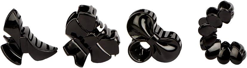 STRIPES Stylish Black Medium Hair Clutcher & Hair Claw Hair Accessories for Girls & Women (Set of 4 Pieces)