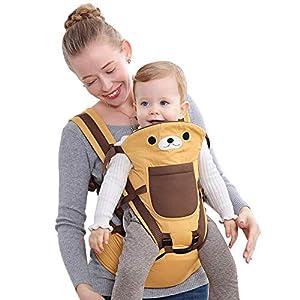 51gHNe8Np7L. SS300  - Happy Cherry - Portabebés Ergonómicas con Asiento de Cadera Cintura Ajustable para Bebés Recien Nacido 0-36 meses Multifuncional - Amarillo