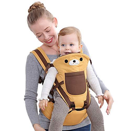 Happy Cherry - Portabebés Ergonómicas con Asiento de Cadera Cintura Ajustable para Bebés Recien Nacido 0-36 meses Multifuncional - Amarillo