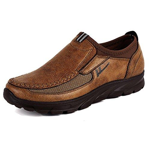 Gracosy Herren Mokassin, Herren Derby Schnürhalbschuhe Flache Slipper Oxford Casual Schuhe Herbst Low-Top Lederschuhe Freizeitschuhe Braun 43