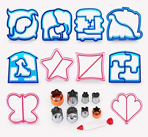 Sandwich Ausstecher Brot Toast Keks Cutter 1Plusselect Edelstahl Modellierwerkzeug 19tlg. für Cookie Obst Gemüse Lebensmitteln mit Dekorationsstift zum Schreiben für Kinder Essen