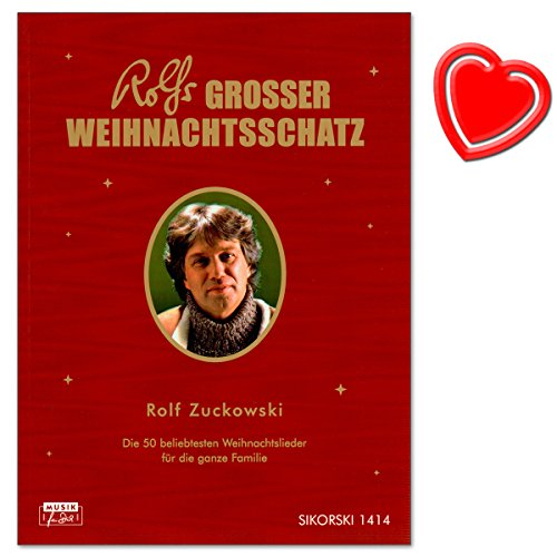 Rolfs großer Weihnachtsschatz - 50 beliebtesten Weihnachtslieder für die ganze Familie von Rolf Zuckowski - Liederbuch mit bunter herzförmiger Notenklammer -