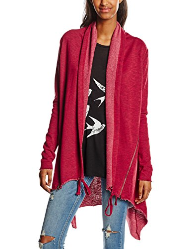 Urban Classics Damen Mantel Ladies Terry Cardigan, Rot (Burgundy 606), 38 (Herstellergröße: M)