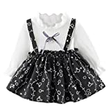 Ears Toddler Kids Baby Girls Elegant Langarm Prinzessin Kleider Kleinkind Kinder Baby Mädchen Langarm Blumendruck Kleidung Party Formale Casual Outfits Ruffles Dress Slim Clothes (100, Grau)