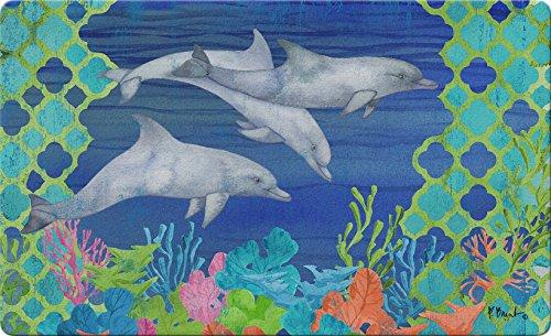 Toland Home Garden Tauchen Delfine 45,7x 76,2cm Dekorative Tropical Fußmatte Dolphin Reef Fußmatte