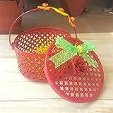 PAISLEYS Bella Flower-Themed Round Gift Basket for Children (Reusable), Red Colour, Metal