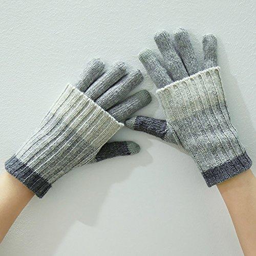 LJHA Frauen Handschuhe lang oder kurz 2 Möglichkeiten tragen Touchscreen Herbst und Winter warme Reithandschuhe ( Farbe : Grau )