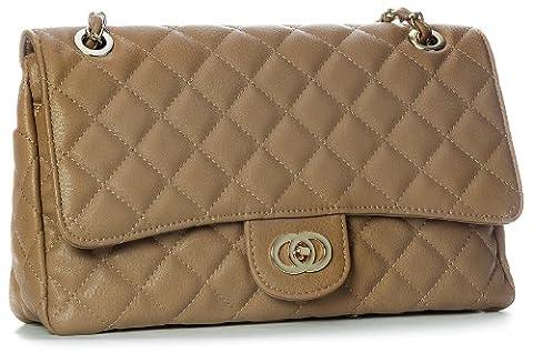 Big Handbag Shop Womens Medium Quilted Gold Chain Shoulder Bag (6020 Camel)