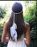 Simsly Boho piuma fascia cerchietto hippie indiano anni '20 piuma copricapo gioielli accessori copricapo per donne e ragazze (bianco)