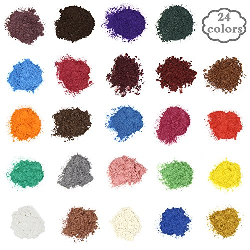 Soap Dye - Mica Powder Pigments for bath bomb - Soap Making Colorant - 24 Beautiful Colors (5g) - Candle Making, Eye Shadow, Blush, Nail Art, Resin Jewelry, Artist, Craft Projects