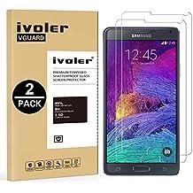 [2 Pack] Samsung Galaxy Note 4 Protector de Pantalla, iVoler Protector de Pantalla de Vidrio Templado Cristal Protector para Samsung Galaxy Note 4 -Dureza de Grado 9H, Espesor 0,30 mm, 2.5D Round Edge-[Ultra-trasparente] [Anti-golpe] [Ajuste Perfecto] [No hay Burbujas]- Garantía Incondicional de 18 Meses