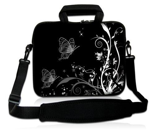 Luxburg® Design Laptoptasche Notebooktasche Sleeve mit Schultergurt und Fach für 17,3 Zoll, Motiv: Pflanzenornament mit Schmetterlingen schwarz/weiß
