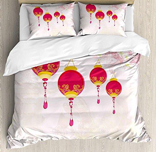 Laterne 3 Stück Bettwäsche Set Bettbezug Set, Neujahr der chinesischen Kalenderfeiern Eastern Imagery abstrakte asiatische Kunst, 3 Stück Tröster / Qulit Cover Set mit 2 Kissenbezügen, Pink Gelb -