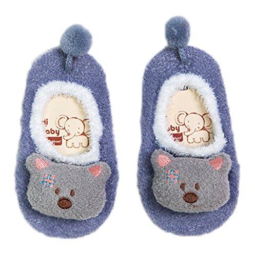 Smile YKK Liebe Tier Muster Kind Mädchen Socken Schuhen Lammfellschuhe Cartoonsocken Erstlingsschuhe Sockenschuhe L Lila Bär (Fit Strumpfhosen Firma)