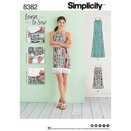 Simplicity 8382pour Femme Robe Dos Nu en Deux Longueurs, Papier, Blanc, 22x 15x 1cm