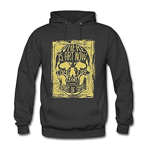 Men Hoodie Sweatshirts Skeleton Skull Printed Unisex Hooded Pullover Dark gray M