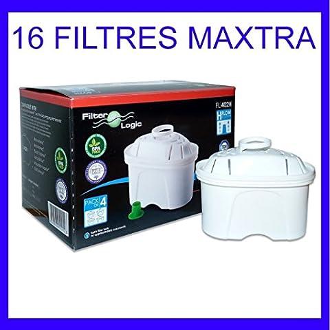 16 x FilterLogic FL402H - Cartouche filtrante compatible BRITA Maxtra pour fill & enjoy Elemaris / Marella / Navelia / Optimax et Bosch - Siemens Tassimo carafe filtrante