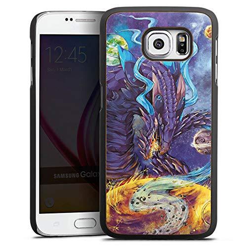 Holz Hülle kompatibel mit Samsung Galaxy S6 Wooden Case Echtholz Handyhülle Dragon Drache Fantasie - Fantasy Walnuss