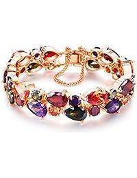 CARSINEL pulsera multicolor del brazalete para las mujeres y las muchachas Rose plateó la joyería del partido del AA CZ 4 tamaños