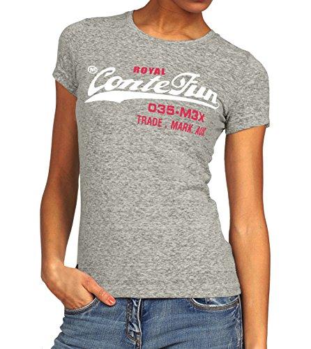 M.Conte Damen T-Shirt Kurzarm T Sweat-Shirt Neon-Pink Lila Grau Blau Rose Rot Grün Schwarz Marine Blau S M L XL Farbe Romana (XL, Grau Silber)