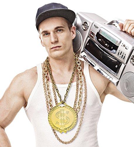 Daddy Kostüm Puff - Panelize Hip Hop Rapper-Schmuck 90er Jahre Kette mit riesigem Amulett Prollschmuck Macho