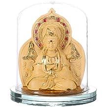 Feng Shui Cubierta de Vidrio Dorado Dos Buddha Car Ornaments Avalokitesvara y RU LAI Buddha Estatua