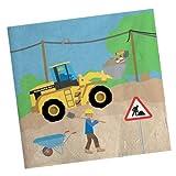 20 Servietten mit Motiv: Baustelle und Radlader für Kinder Mottoparty // Bauarbeiter Bagger Baumeister Kindergeburtstag Geburtstag Party Jungs Bau Bob