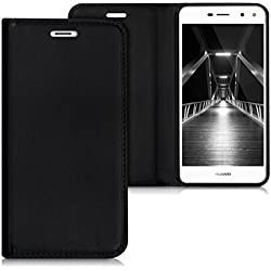 kwmobile Funda para Huawei Y6 (2017) - Flip cover Case para móvil en cuero sintético - Estilo libro plegable negro