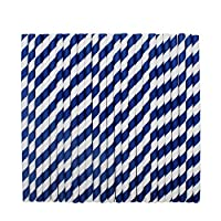 tecmac Eco-Friendly and Disposable White - Blue Stripes Paper Straws | 6 mm | 50 Pieces