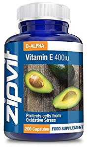Vitamin E 400iu, Pack of 200 Softgels, by Zipvit Vitamins Minerals & Supplements by Zipvit