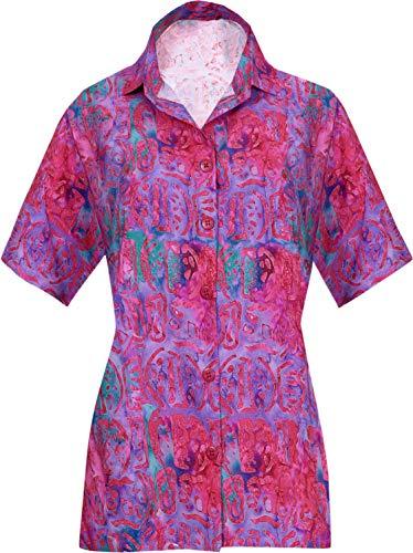 HAPPY BAY Hawaii-Hemd für kurzen Ärmel Knopf nach unten High-Definition-3D-gedruckten Frauen Aloha M-DE Größe-44-46 Rosa_AA189