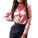 Bluse Seide Damen, Ulanda Frauen Teenager Mädchen Elegant Oberteile Stehkragen Langarm Hemdbluse Casual Langarmshirt Sommerliche Vintage Tunika Hemd T-Shirt (Rosa, M)