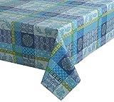 Baumwoll Tischdecke mit Acrylatversiegelung, abwischbar waschbar, Torino Design, Farbe & Größe wählbar (eckig 140 x 360 cm Blau-Grün)