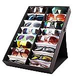 Caja organizadora para gafas con 16 ranuras para organizar gafas, gafas de sol, gafas, gafas, gafas, gafas, gafas, joyas, relojes y gafas de sol, con bandeja plegable